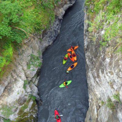 Les gorges à l'arrivée au Lauzet sur l'Ubaye dans les Hautes-Alpes